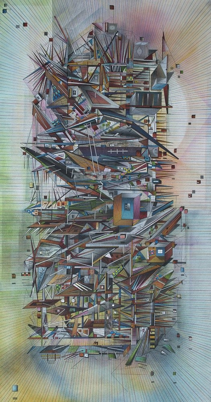Towerfull. Spraypaint on canvas 43 x 23 inches JDavies 2014-15