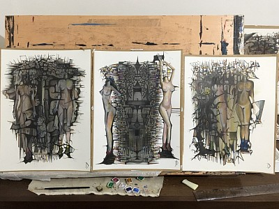 Series. A Theory About Darkness, watercolour and ink on arches paper 28 x 19cm JD 2015-17.